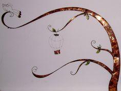 Albero incantato Filo e lastra di rame 140x100 cm