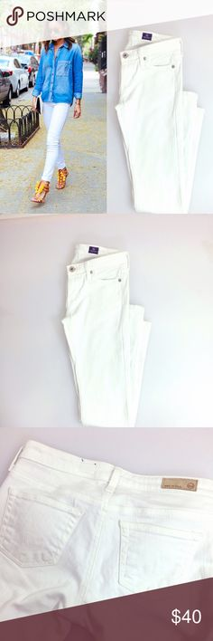 AG like new Charlotte White Straight Leg Jean Excellent condition with little to no signs of wear. Five pocket design with signature silver hardware. Gorgeously flattering pant, priced to sell. AG Adriano Goldschmied Jeans Straight Leg