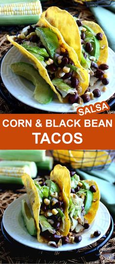 Corn and Black Bean Salsa Tacos are a fresh twist for taco night. There are lots of spices added to traditional salsa and then amped up with veggies. You can serve it either hot or cold. #cornsalsafortacos #blackbeanandcornsalsa #veganrecipes #blackbeansalsawithcorn #tacos #blackbeansalsarecipe #TacoTuesday #cornsalsatacos #blackbeansalsa #veganinthefreezer Fast Dinner Recipes, Fast Dinners, Easy Weeknight Dinners, Vegan Recipes Easy, Veggie Recipes, Mexican Food Recipes, Easy Meals, Ethnic Recipes, Veggie Meals