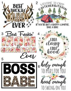 Waterslide Decals Camping Dad Mom Boss Babe Mix \ laser printed / laser decals / tumbler supplies \ *Waterslide Ready To Use* Art Inspo, Inspiration Art, Custom Tumblers, Diy Tumblers, Tumbler Designs, Vinyl Projects, Vinyl Crafts, Personalized T Shirts, Silhouette Projects