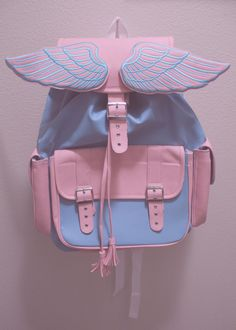 Serenity blue and Rose Quartz winged backpack...angelic