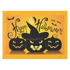 Orange / Black 🎃 Happy Halloween Pumpkins Tablecloth