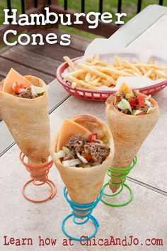 Change up your summer burger routine by making hamburger cones. Perfect for barbecues and letting guests create their own versions..