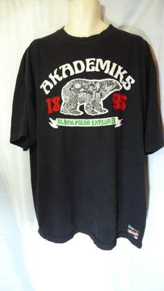 Mens Akademiks T Shirt 2XL Black Polar Explorer