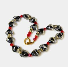 Medium Long Sparkling Black Silver Red Gold by ALFAdesigns on Etsy, $64.99