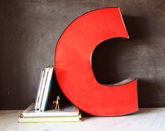"""Vintage Industrial Red Letter """"C""""."""