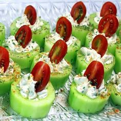 Cucumber Bites with Herb Cream Cheese and Cherry Tomatoes: Cherry tomatoes + cucumbers + hearb cream cheese (cream cheese + ranch dressing + dill, thyme, salt) + sprinke of herbs, paprika or other spices