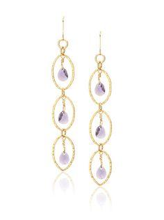 Taryn Reed 14k Gold Filled Purple Crystal Dangle Earrings