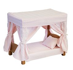 Amish Handcrafted Wood Doll Canopy Bed