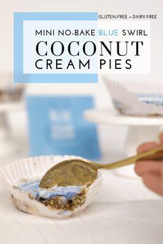 Mini No-Bake Blue Swirl Coconut Cream Pies - Tayler Silfverduk Best Gluten Free Recipes, Gluten Free Desserts, Easy Desserts, Dessert Recipes, Healthy Recipes, Gluten Free Thanksgiving, Fourth Of July Food, Cream Pies, Perfect Food