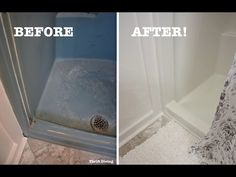 Got an old shower or bathtub and looking to refinish it? In this video, I tested out the BathWorks Tub Refinishing Kit to see how it would work in my . Shower Base, Diy Shower, Shower Floor, Shower Tub, Fiberglass Shower Stalls, Casa Disney, Shower Makeover, Small Shower Remodel, Painting Shower