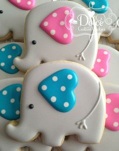 One Dozen (12) Baby Elephant Decorated Sugar Cookies