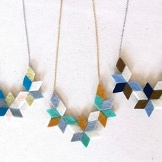 Kaleidoscope felt collage Necklace by HOMAKO on Etsy, $28.00