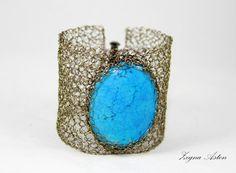 Wire Crochet Turquoise Bracelet by ZegnaJewelry on Etsy, $71.00
