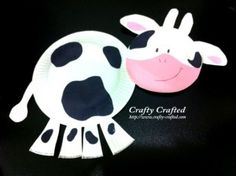 Paper plate cow for farm unit.  Came out a little weird, but still cute.