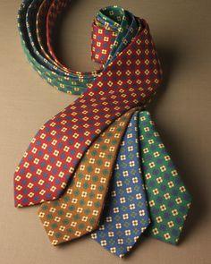 Bruno Marchesi Silk tie Necktie Navy Blue Yellow green purple hot pink wide
