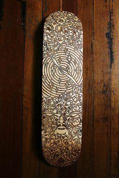laser etched skate deck