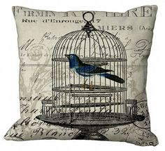 Birdcage on invoice Pillow Cover by Soeuralasoeur on Etsy Accent Pillows, Throw Pillows, Pillow Inspiration, Burlap Crafts, Beach Cottage Decor, Pillow Talk, Bird Cage, Soft Furnishings, French Vintage