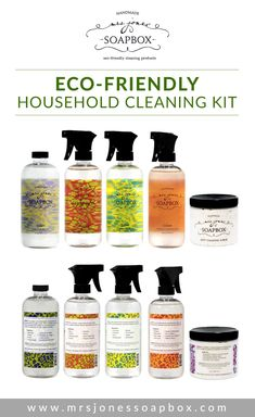 Eco-Friendly Household Cleaning Kit by Mrs. Jones' Soapbox   Save 10% and buy this amazing bundle of products, perfect for cleaning your house from top to bottom. More info here: http://mrsjonessoapbox.com/collections/combo-kits/products/eco-friendly-hous