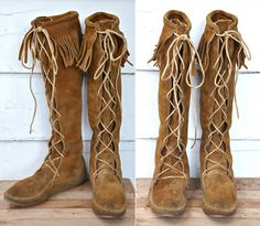 MINNETONKA Tall Boots Knee High Laceup Brown by LaDeaDeiSogni, $75.00