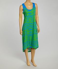 Look at this #zulilyfind! Green & Royal Abstract Stripe Hi-Low Dress #zulilyfinds