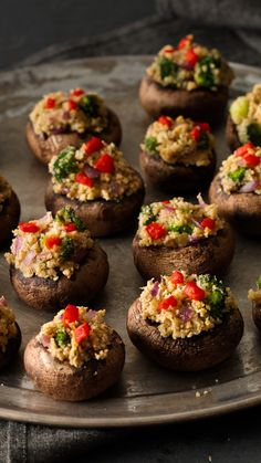 You'll love these savory stuffed mushrooms because they're super easy and can be made ahead. Your guests will love them because they're fantastic and flavorful! A creamy cheese, herb and broccoli filling is topped with garlic and herb breadcrumbs for an extra flavor boost, and chopped sweet roasted red peppers takes these 'shrooms over the top. This recipe has tons of great ratings from Betty members!