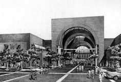 Artist's sketch of the Plaza Pasadena, 1977. Courtesy of the Archives, Pasadena Museum of History (Star News Collection).