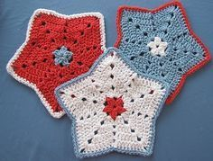 Free Crochet Pattern: Little Star Dish Cloth or Wash Cloth...these would make great, quick gifts!.