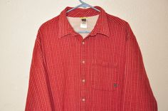 THE NORTH FACE Flannel Men's Button Front COTTON Extra Large XL Red Plaid Shirt #TheNorthFace #ButtonFront