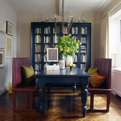 Arranging Blue Dining Table, Carpet & Great Bookcase Idea for Dining Room Design -  Herringbone,  Hardwood Floors,  Farm Dining Table,  Burgundy &  Library