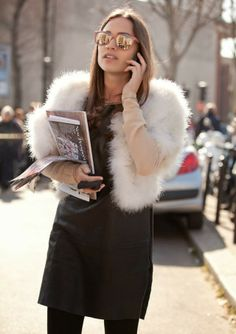 Chilly weather --> Fluffy Bolero #StreetStyle