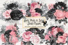 Illustrations, Graphic Illustration, Grunge Vintage, Black Pink, Purple, Wonderland, Wedding Props, Clip Art, Glitter Girl