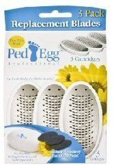 Ped Egg Platinum Refills (Black) 3 Blades and 3 Emery Pads by Telebrands Ped Egg Platinum. $9.99. Larger Size. 45% more micro file than the white ped egg. Package of 3 replacement blades and emery pads for PLATINUM PED EGG. OVER 135 Precision Micro Files for PLATINUM  Ped Egg. Traps Shavings No Mess. Platinum Ped Egg (Black) is 45% more microfiles.  The Specific Refills are for the Platinum Black or Platinum Men Series .