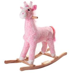 Happy Trails Plush Rocking Penny the Pink Giraffe - Ships from U.S.