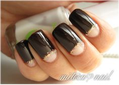 reverse french nails with essie - lady godiva