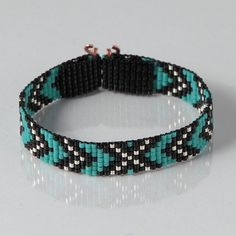 Native American Style Chevron Bead Loom Bracelet - Artisanal Jewelry - Southwestern - Western Jewelry - Beaded Bohemian - Tribal - Turquoise by PuebloAndCo on Etsy