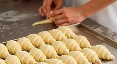 producing classic croissants at the bakery shop. woman is rolling dough into rolls for further baking. Bosnian Recipes, Croatian Recipes, Bread And Pastries, Baking Recipes, Cookie Recipes, Dessert Recipes, Braided Nutella Bread, Kolaci I Torte, No Bake Cake