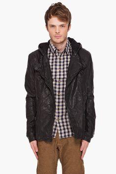 SS 2012 LOOK - CLOTHING    DIESEL HOODED LANDON LEATHER JACKET