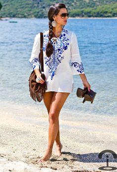Blusones para la playa , Blanco en Camisas / Blusas, en Bolsos, Zara en Tacones / Plataformas