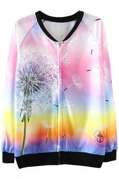 #Spring #AdoreWe #Oasap - #oasap Dip Dye Dandelion Print Zip Up Sweatshirt - AdoreWe.com