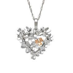 Diamond set 9ct white gold Love Shamrock large heart bouquet pendant #houseoflor #irishjewelry #irishgold #pendant #whitegold #rosegold