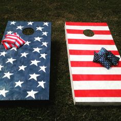 American painted corn hole boards with coordinating bags