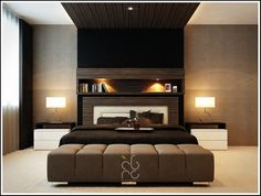 Contemporary Master Bedroom With Black Comfortable Master Single Bed With Two Drum Shade Table Lamps Also Two Beside Desk And Black Sweet Cover Bed Also Wooden Panel Ceiling And Beautiful Rug Design