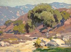 Hanson Puthuff (1875-1972). California Foothill Landscape. Oil on board. 12 X 16 in (30.48 X 40.64 cm)
