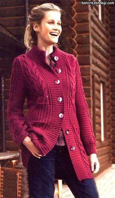 Cardigan Pattern, Sweater Knitting Patterns, Jacket Pattern, Crochet Patterns, Knit Fashion, Sweater Fashion, Fashion Outfits, Jackets Fashion, Crochet Jacket