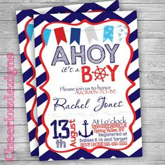 Find This Pin And More On Chalen Leo By Meganrenae07. Shop For Ahoy Its A Boy  Baby Shower Invitation ...