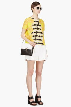 MOTHER OF PEARL Yellow Silk Citrus Blouse. $490