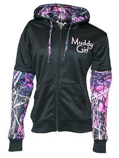 Moon Shine Attitude Attire Muddy Girl Pink Camo Sleeve Black Zipper Hoodie in Clothing, Shoes & Accessories,Women's Clothing,Sweats & Hoodies Hoodie Sweatshirts, Camo Sweatshirt, Country Girl Outfits, Muddy Girl Camo, Purple Camo, Women's Camo, Camo Baby, Baby Boy, Camo Outfits