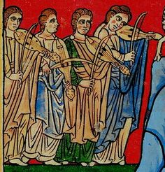 Cytharas (here fiddles) in the Rylands Beatus, c. 1175, Adoration of the Lamb, from a facsimile.  http://www.turismo-prerromanico.com/en/manuscritos/beato-de-manchester-20131031185858/
