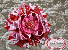 Valentine's Day inspired Bows  Handmade Lovely Creations For your Darling Little Ones
